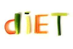 Diet. Word diet made from vegetables Stock Images