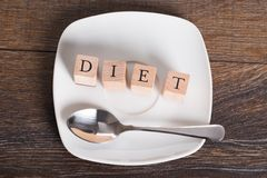 Diet word on table Royalty Free Stock Images