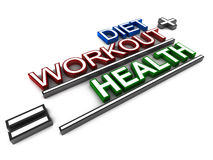 Diet workout health. Equation of diet health and workout, good diet with routine exercise leads to good health, text on white background Stock Photography