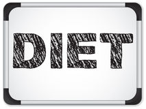 Diet written on whiteboard with chalk. Royalty Free Stock Photos