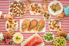 dieta śródziemnomorska jeść zdrowo pojęcia Odgórny widok obraz stock