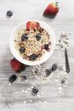 Dieta ciężaru straty śniadanie, zdrowy życia pojęcie z domowym robić muesli z świeżymi owoc Obraz Royalty Free