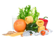 Dieta ciężaru straty śniadaniowy pojęcie z taśmy miarą Zdjęcie Royalty Free