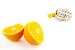 Dieta con l'arancio Fotografie Stock