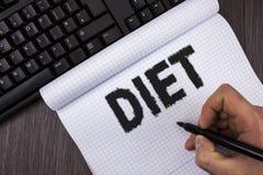 Dieta conceptual de la demostración de la escritura de la mano Los dietético del texto de la foto del negocio crean planes de la  Foto de archivo libre de regalías