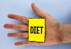 Dieta conceptual de la demostración de la escritura de la mano Los dietético de exhibición de la foto del negocio crean planes de Imagen de archivo