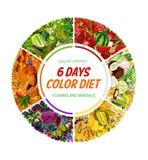 Dieta da cor, nutrição saudável do alimento de 6 dias ilustração stock