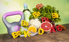 Dieta da vitamina e da aptidão, conceito do estilo de vida Fotografia de Stock Royalty Free