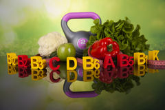 Dieta da vitamina e da aptidão, conceito do estilo de vida Imagem de Stock Royalty Free