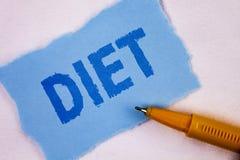 Dieta de la demostración de la muestra del texto Los dietético conceptuales de la foto crean planes de la comida para adoptar y p Imágenes de archivo libres de regalías