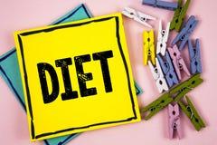 Dieta de la demostración de la muestra del texto Los dietético conceptuales de la foto crean planes de la comida para adoptar y p Imagenes de archivo