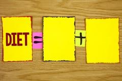 Dieta de la escritura del texto de la escritura Los dietético del significado del concepto crean planes de la comida para adoptar Imágenes de archivo libres de regalías