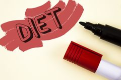Dieta de la escritura del texto de la escritura Los dietético del significado del concepto crean planes de la comida para adoptar Foto de archivo