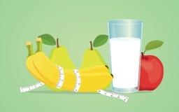 Dieta de la fruta con la manzana de la leche de la pera del plátano sana Fotos de archivo libres de regalías
