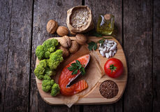 Dieta del colesterolo, alimento sano per cuore Fotografia Stock Libera da Diritti