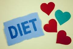 Dieta del texto de la escritura Los dietético del significado del concepto crean planes de la comida para adoptar y para mantener Fotos de archivo libres de regalías