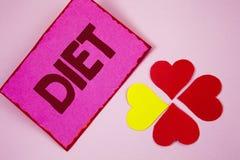 Dieta del texto de la escritura de la palabra El concepto del negocio para los dietético crea planes de la comida para adoptar y  Fotografía de archivo libre de regalías