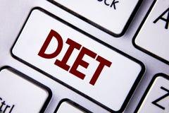 Dieta del texto de la escritura de la palabra El concepto del negocio para los dietético crea planes de la comida para adoptar y  Imagen de archivo