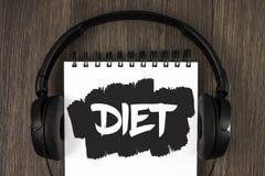 Dieta del texto de la escritura de la palabra El concepto del negocio para los dietético crea planes de la comida para adoptar y  Imagenes de archivo