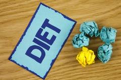 Dieta del texto de la escritura de la palabra El concepto del negocio para los dietético crea planes de la comida para adoptar y  Fotografía de archivo