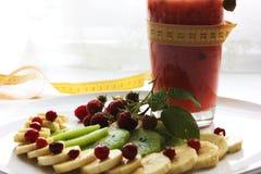 Dieta della banana e del mirtillo rosso del frullato dell'anguria Fotografie Stock