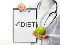 Dieta di prescrizione del medico Fotografia Stock