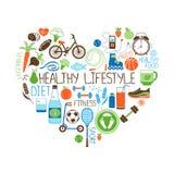Dieta di stile di vita e segno sani del cuore di forma fisica Fotografie Stock Libere da Diritti