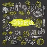 Dieta do Keto - ilustração branca e verde do vetor Ketogenic do alimento do esboço Alimento saudável do keto - gorduras, proteína ilustração royalty free