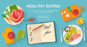 Dieta e conceito saudável do alimento comer ilustração royalty free