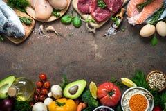 Dieta equilibrata Alimento biologico per nutrizione sana immagini stock
