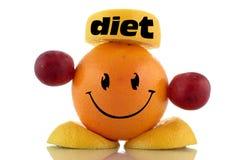 Dieta feliz. Coleção engraçada do caráter dos frutos Fotos de Stock Royalty Free