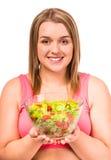 Dieta gorda da mulher Imagem de Stock Royalty Free