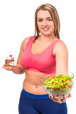 Dieta gorda da mulher Fotografia de Stock Royalty Free