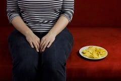 Dieta gorda de la mujer Foto de archivo
