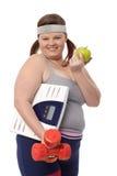Dieta gorda feliz de la mujer Foto de archivo