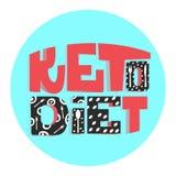 Dieta Ketogenic o slogan de comer saudável lettering Cores coloridas ilustração royalty free
