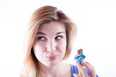 Dieta o cioccolato? Immagini Stock Libere da Diritti