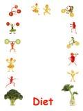 Dieta Piccola gente divertente fatta delle verdure e della frutta - struttura Fotografie Stock Libere da Diritti