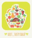 Dieta saboroso da ilustração do vetor Imagem de Stock
