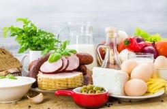 Dieta sana degli alimenti differenti rassodati Fotografia Stock