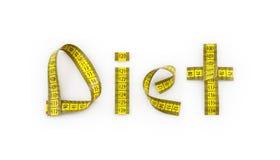 Dieta scritta con la misura di nastro Immagini Stock