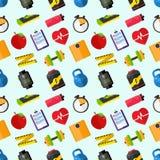 Dieta, sprawności fizycznej ilustraci Płaski styl bezszwowy wzoru Zdjęcie Stock