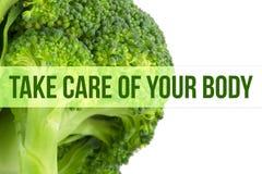 Dieta, zdrowia pojęcie, makro- zakończenie up brokuły fotografia royalty free