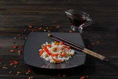 Dietary сhinese dish rice with stewed vegetables stock photo