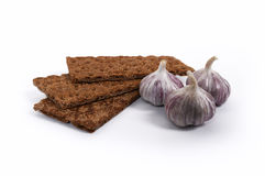 Dietary bread with garlic Stock Images