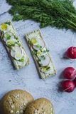 Dietary bread with quail egg, radish and melted cheese. Vegetarian sandwiches. Light background Close-up stock photos