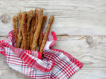 Dietary breadsticks from wholegrain flour. Italian grissini - healthy snack Stock Images
