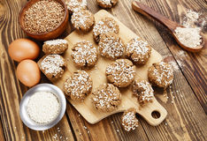 Dietary buckwheat cookies. With sesame and spices Stock Photography