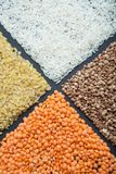 Dietary cereals from organic cereals: lentils, rice, bulgur and buckwheat stock photography