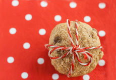 Dietary cookies with dried fruits on red napkin and tied with a Royalty Free Stock Images